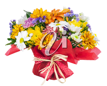 Beautiful bouquet of gerbera, carnations and other flowers in red  package isolated on white background.