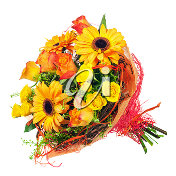 Beautiful bouquet of gerbera, roses and other flowers isolated on white background.