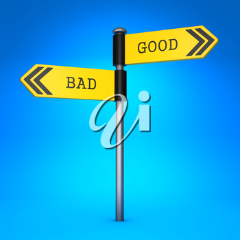 Yellow Two-Way Direction Sign with the Words Bad and Good on Blue Background. Concept of Choice.