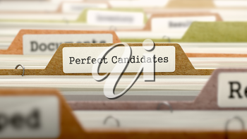 Perfect Candidates Concept. Colored Document Folders Sorted for Catalog. Closeup View. Selective Focus. 3D Render.