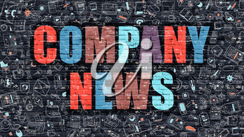 Multicolor Concept - Company News on Dark Brick Wall with Doodle Icons. Modern Illustration in Doodle Style. Company News Business Concept. Company News on Dark Wall.