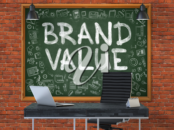 Brand Value Concept Handwritten on Green Chalkboard with Doodle Icons. Office Interior with Modern Workplace. Red Brick Wall Background. 3D.