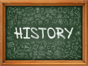 Green Chalkboard with Hand Drawn History with Doodle Icons Around. Line Style Illustration.