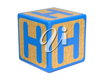 Letter H on Blue Wooden Childrens Alphabet Block  Isolated on White. Educational Concept.