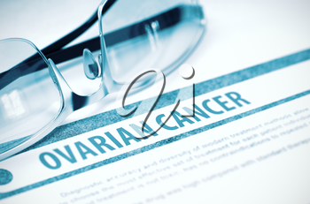 Ovarian Cancer - Medicine Concept on Blue Background with Blurred Text and Composition of Glasses. 3D Rendering.