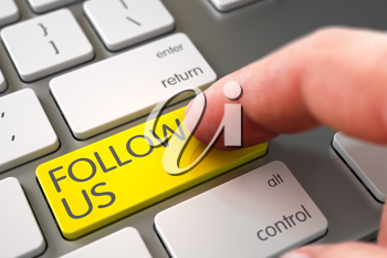 Close Up view of Male Hand Touching Yellow Follow Us Computer Button. 3D Illustration.