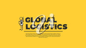 Global Logistics - Simple Design with Cartoon Businessman Silhouette Isolated on Yellow Background. Illustration for Successful Stories, Positive Inspirations and New Opportunities. Web Template