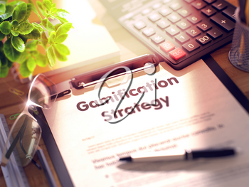 Business Concept - Gamification Strategy on Clipboard. Composition with Clipboard and Office Supplies on Office Desk. 3d Rendering. Blurred Illustration.