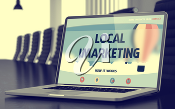 Local Imarketing. Closeup Landing Page on Mobile Computer Screen. Modern Conference Hall Background. Blurred Image. Selective focus. 3D.