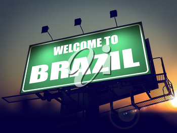 Welcome to Brazil - Green Billboard on the Rising Sun Background.