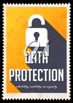 Data Protection on Yellow Background. Vintage Concept in Flat Design with Long Shadows.