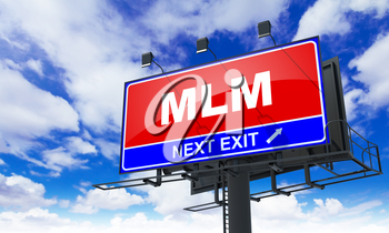 MLM - Red Billboard on Sky Background. Business Concept.
