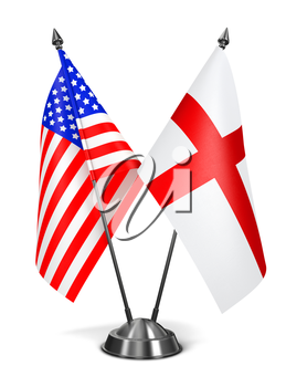 USA and England - Miniature Flags Isolated on White Background.
