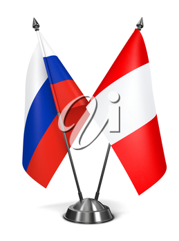 Royalty Free Clipart Image of Russia and Peru Miniature Flags