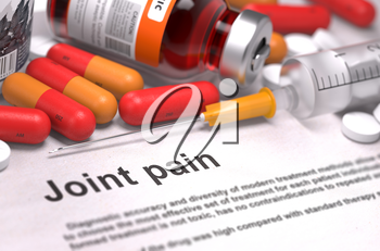 Joint Pain - Medical Report with Composition of Medicaments - Red Pills, Injections and Syringe. Selective Focus.