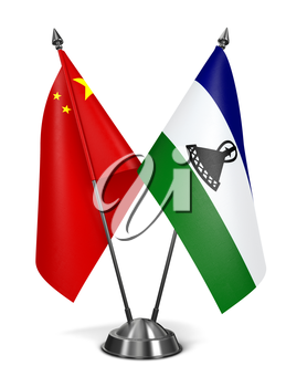 China and Lesotho - Miniature Flags Isolated on White Background.
