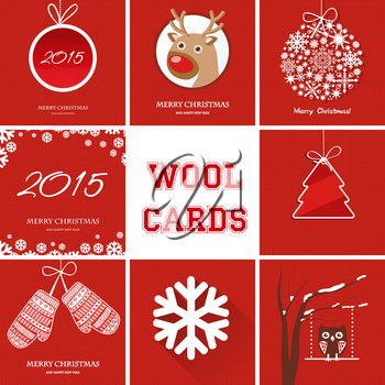 Christmas cards set with different symbols