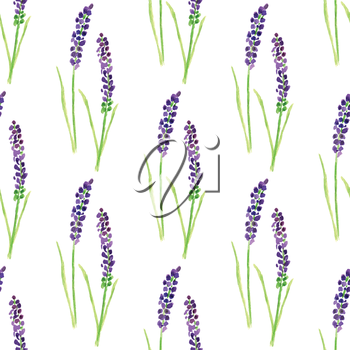 Watercolor painted seamless lavender pattern.