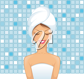 Vector illustration of Young woman in bathroom