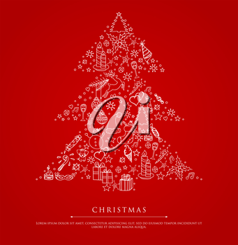 Vector illustration of Stylized xmas tree on red back