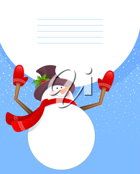 Vector illustration of Xmas back with snowman