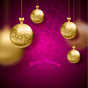 Vector illustration of Christmas card with balls background