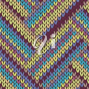 Knit Seamless Multicolor Striped Pattern. Blue Yellow Pink Vinous Lilac Color Vector Illustration