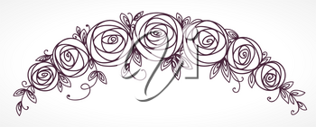 Floral garland. Rose flowers bouquet. Branch of stylized flowers and leaves interlacing.