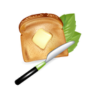 slice of bread with butter and knife isolated