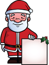 Royalty Free Clipart Image of a Santa holding a Sign