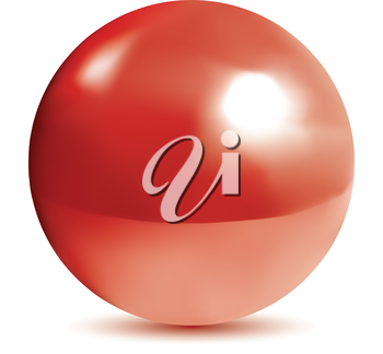 Very realistic shiny, reflective red orb or pearl. Gradient mesh used.