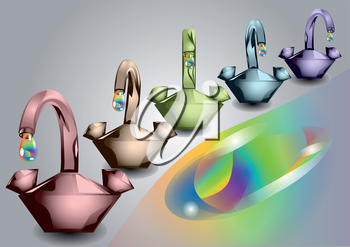 colorful taps with multicolored drops