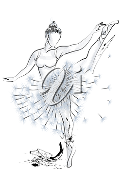 Ballet dancer and abstract dandelion. 10 EPS