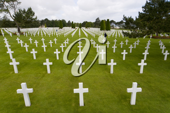 The graves of World War 2 US soldiers who paid the ultimate price amongst many in the cemetery at Omaha Beach in Normandy Northern France