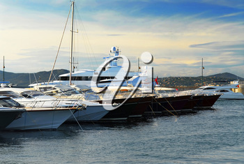 Luxury boats at the dock in St. Tropez in French Riviera