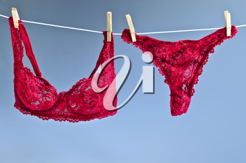 Sexy lace lingerie hanging on clothes line