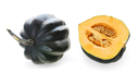 Buttercup squash - whole and a half - isolated on white background