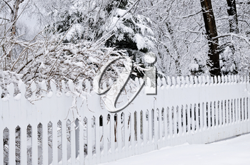 Fence in winter park covered with fresh snow