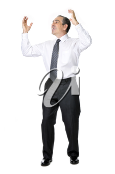 Happy celebrating business man in suit isolated on white background