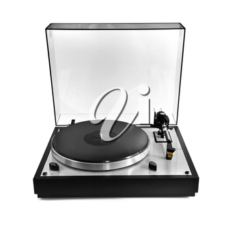 Isolated manual record player with clear plastic lid