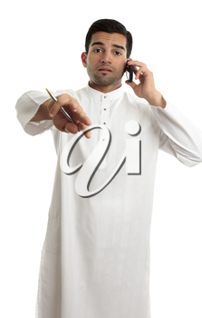 A mixed race ethnic man communicating and gesturing.  White background,