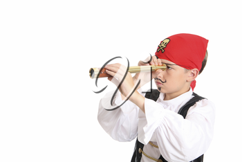 A pirate using a spotting scope to search for ships or far off lands. Horizontal with space for text.