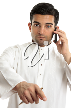 An arab middle eastern ethnic man pointing his finger.  He is wearing a traditional white robe eg kurta dishdasha.  White background.