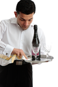 A waiter or servant at work.  White background.
