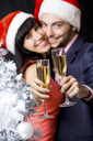 Image of happy couple stretching champagne flutes with silver tree at foreground