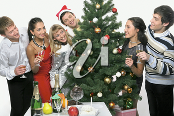 Young happy people are celebrating Christmas