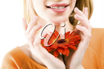 Close-up of female holding red beautiful flower in hands and smiling