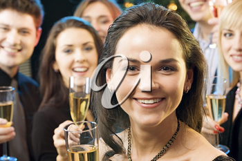 Face of beautiful woman with wonderful smile at a party