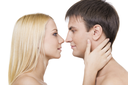 Profiles of two lovers before kissing each other isolated on white background