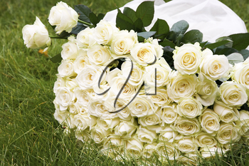 Close-up of big white rose bouquet made up of many flowers lying on green grass